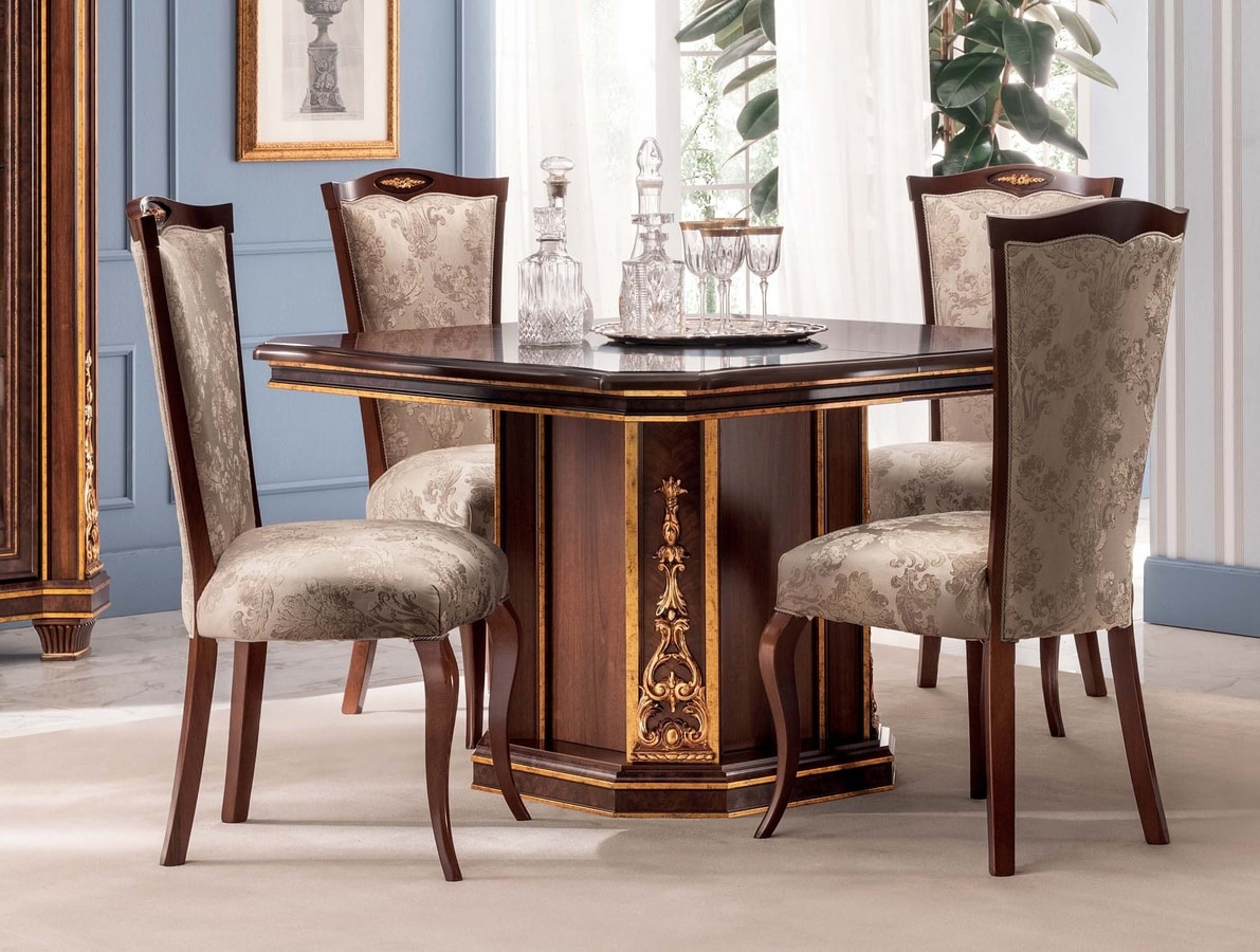 Modigliani squared table, Square dining table, empire style