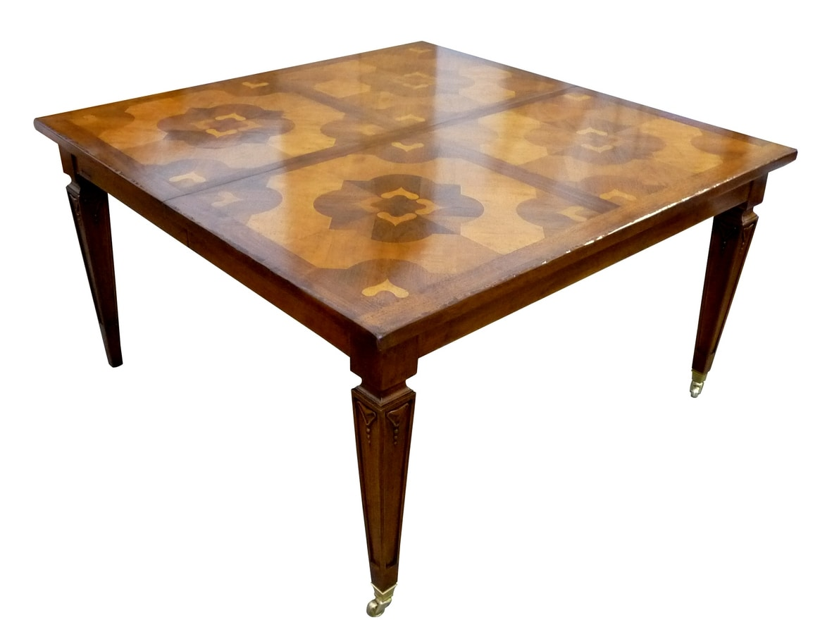 Montieri ME.0897, Walnut table with handle mechanism for the extension