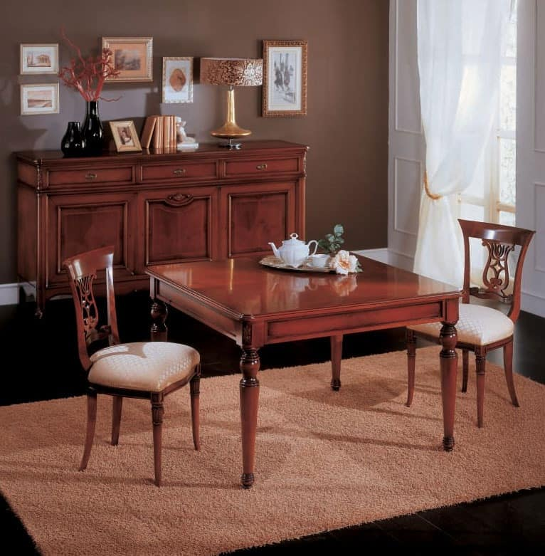 Opera table, Extendable dining table in wood, classic style