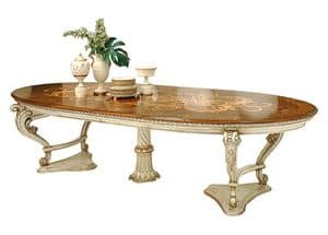 Orlov LU.0670, Extendable table, lacquered and inlaid, in classical style