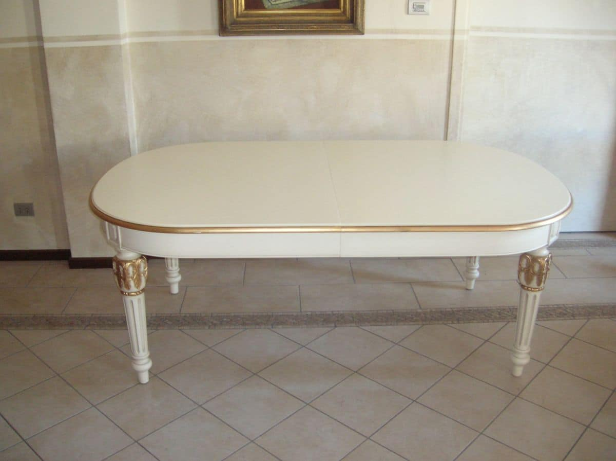 Philippe, Extendable oval table for classic style dining rooms