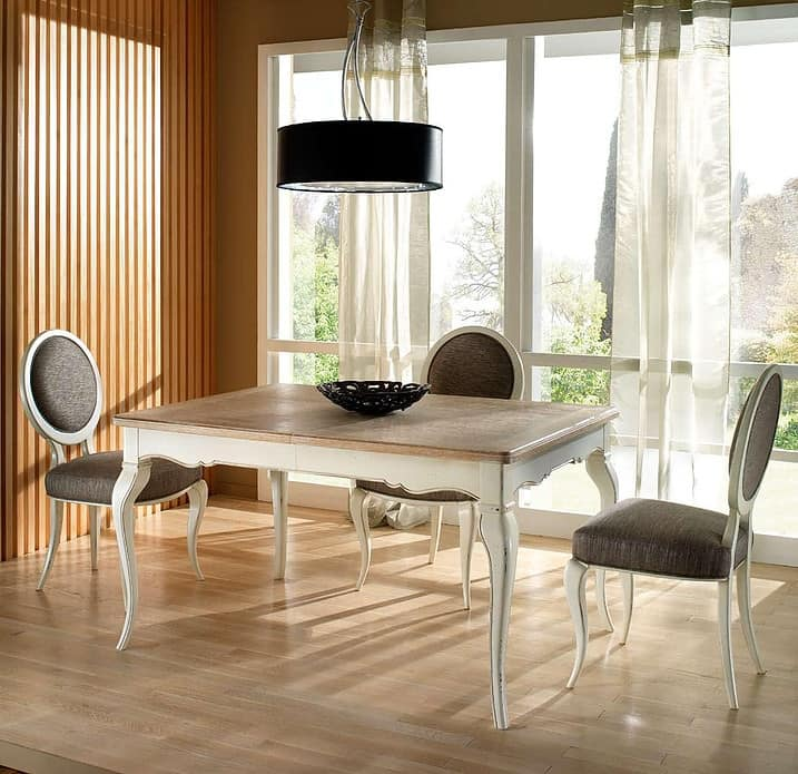 R 302, Rectangular table, extendable, lacquered, classic