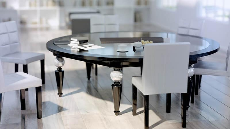 Rettangolo, Classic table with glass and wood floor, decorated legs