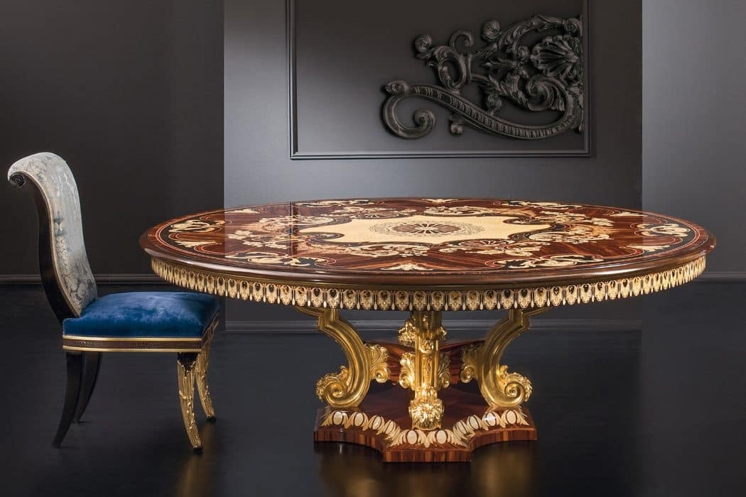 Luxurious Round Table With Carved Base, Luxury Round Table