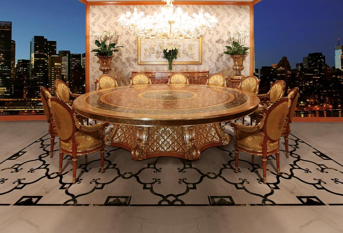 S01 round table, Luxury classic table with Lazy Susan, with briar wood inlays, hand carved