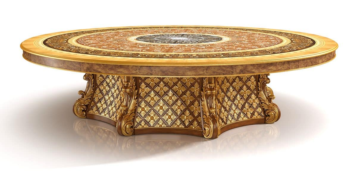 S01 Round Table, Luxury Classic Table With Lazy Susan, With Briar Wood  Inlays,