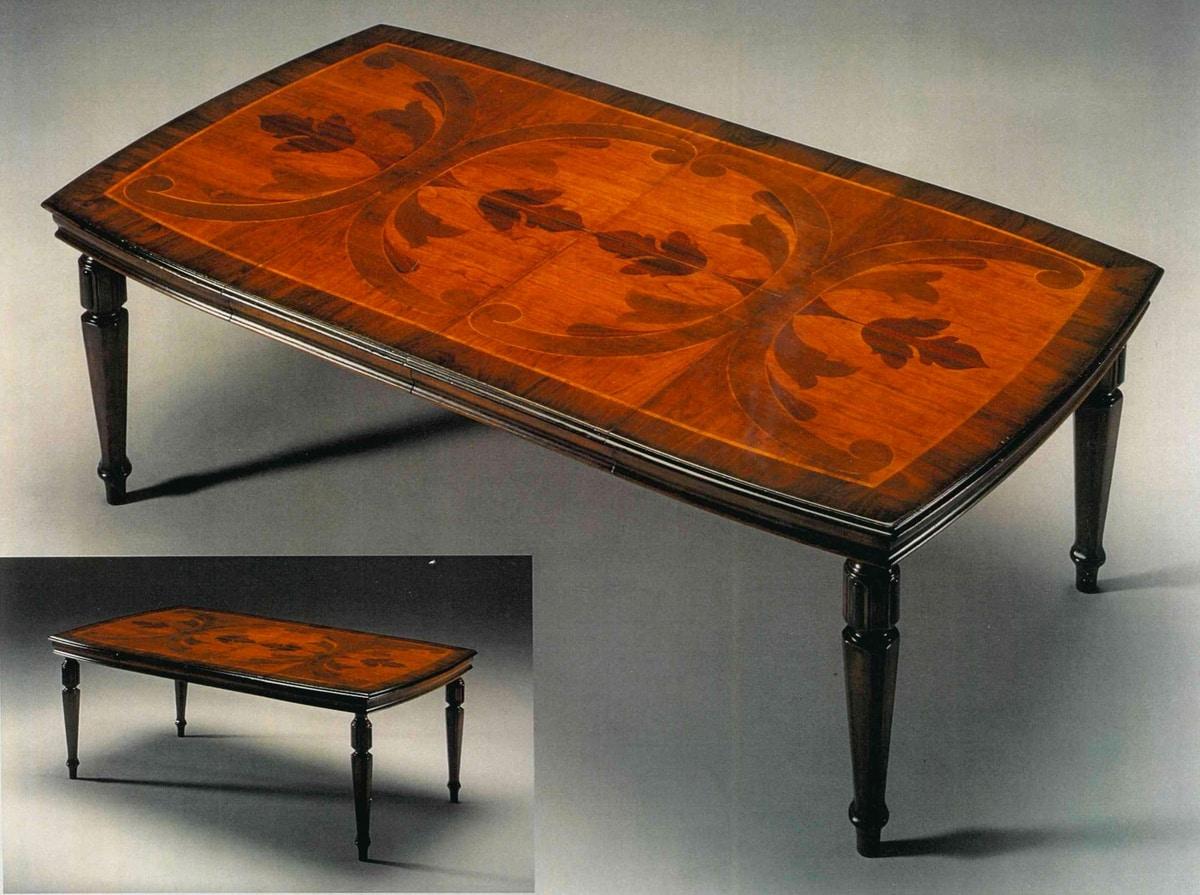 Salviati RA.0684, Walnut table, inlaid top, extendable, classic