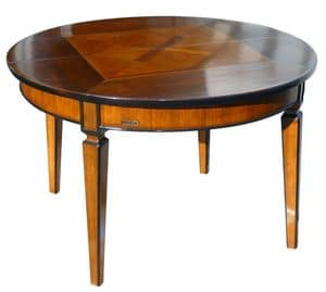 Seggiano ME.0945, Round table in walnut, extensible, tapered legs