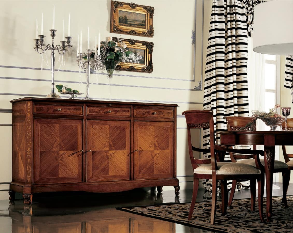 Settecento oval table, Extendable oval table, inlaid with herringbone