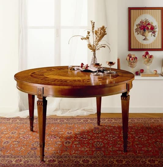 T472 table, Round Extending table, in solid wood inlaid