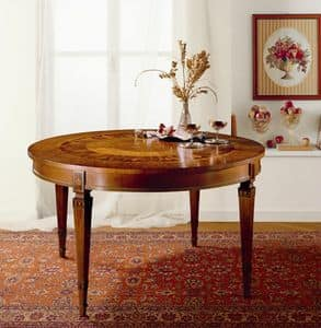 T472, Round Extending table, in solid wood inlaid