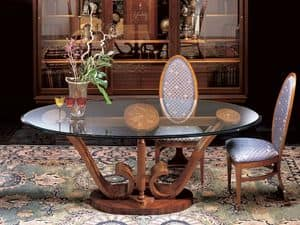 T482 Le volute table, Oval dining table in wood with glass top