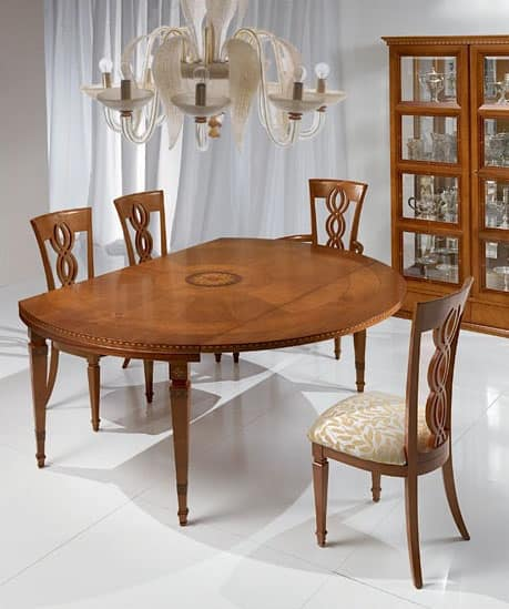 T492 I Capitelli table, Extendable table in classic style, in solid wood