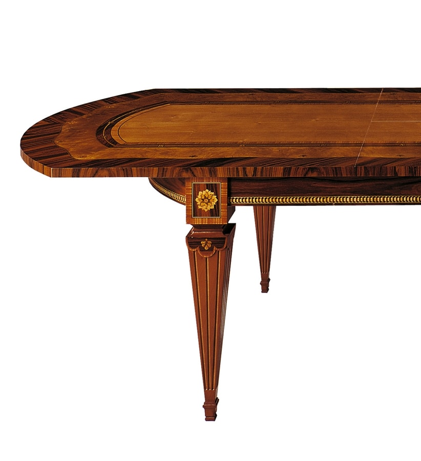 T522 Sinfonia table, Inlaid table, with extensions, for dining room