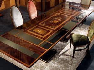 TA27 Luci della ribalta table, Extendable table, mirror top, classic style