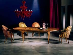 TA31 Arte, Extendable table, inlaid wood, for living room