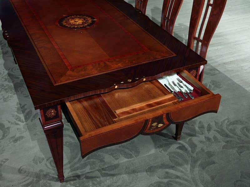 TA48 Accademia, Wooden table decorated with hand tools, luxury Dining room