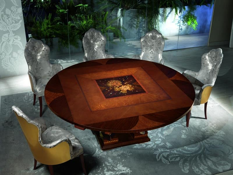 TA50 Class table, Wooden table with precious decorations, for Luxury Hotel