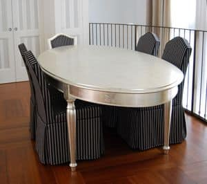 TABLE ART. TL 0014, Oval table with turned legs, polished with agate stone