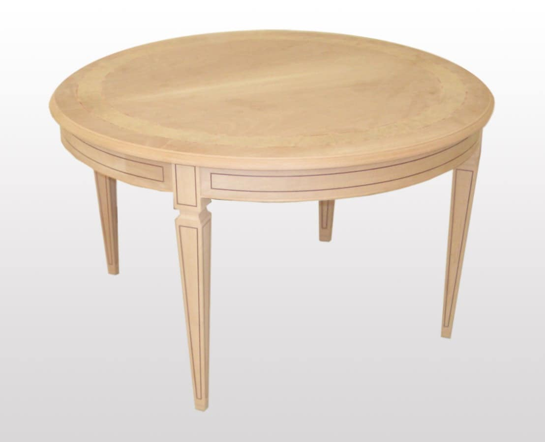 Tolkien, Extendable round table, classical style, carved legs