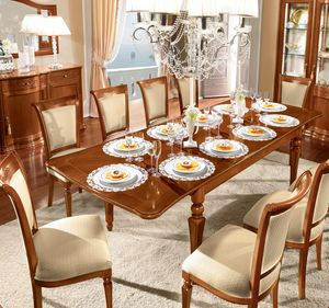 Torriani rectangular table, Rectangular wooden dining table
