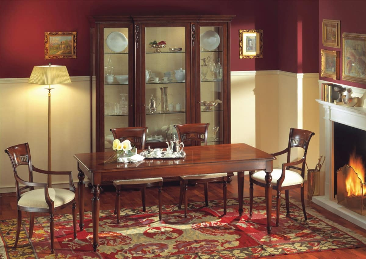 Voltaire rectangular table, Rectangular table in walnut, polished with wax