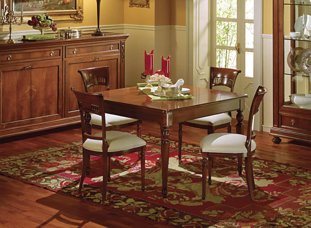Voltaire square table, Extensible square table, classic,  with drawer