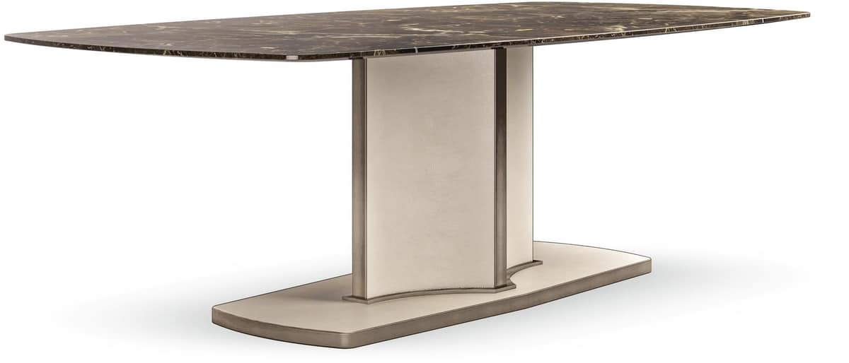 Voyage table, Contemporary luxury table with marble top, leather base