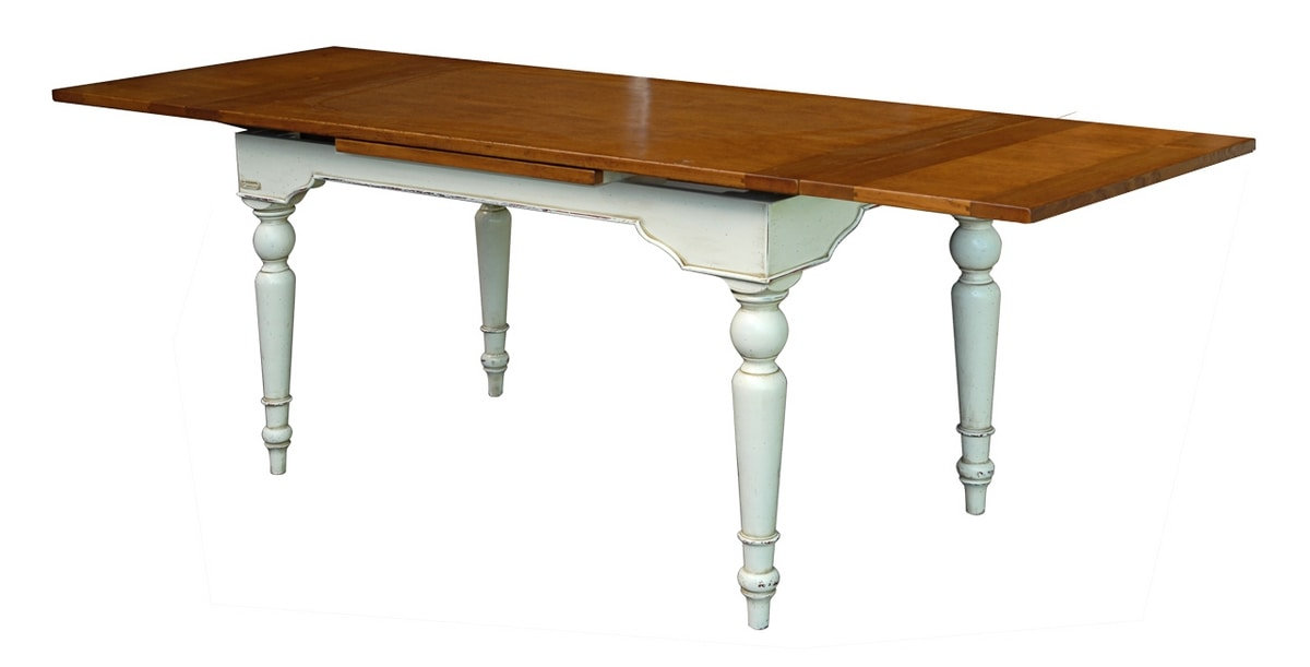 Yvette BR.0111.A, Extendible wooden table, polished floor, for environments in classic style