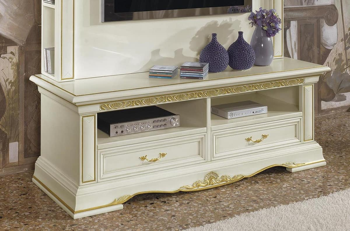 Luxury Tv Stand In Carved Wood With 2 Drawers Idfdesign
