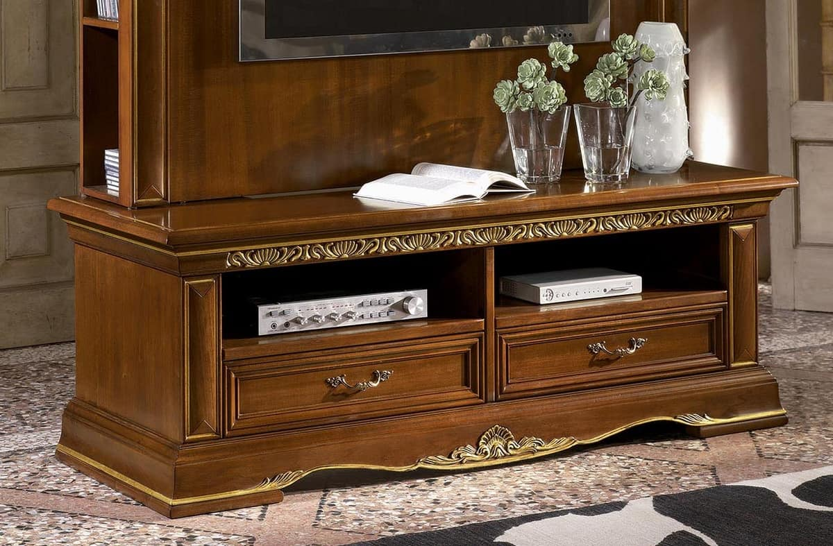 Art. 1750 Vivaldi, Classic tv stand in carved wood, gold leaf finish