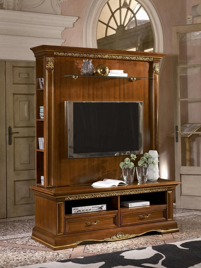 Classic Tv Stand In Carved Wood Gold Leaf Finish Idfdesign