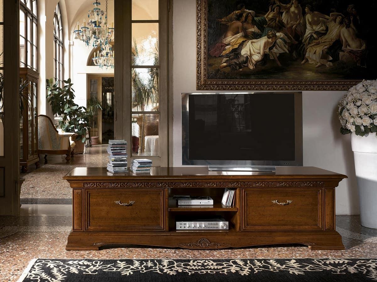Art. 1752 Vivaldi, Long Wooden Tv Stand, For Luxury Classic Living Rooms