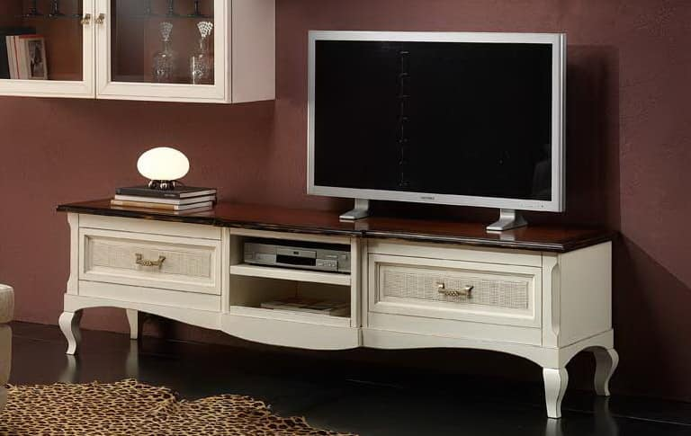 TV stand with straw of Vienna, for classics living rooms | IDFdesign