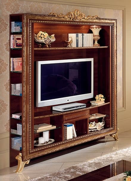 TV stand with bookcase with golden decorations, simple and practical ...