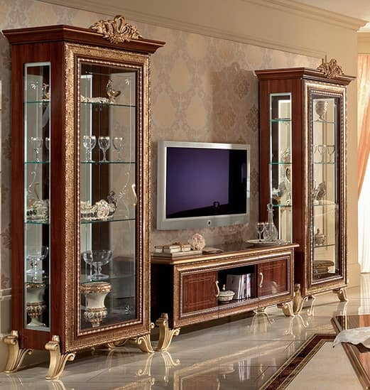 classic tv cabinet with side display cabinet with golden rh idfdesign com