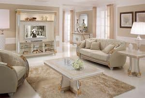 Liberty wall unit, TV wall with classic lines, ideal for decorating luxury living rooms, with details in gold leaf