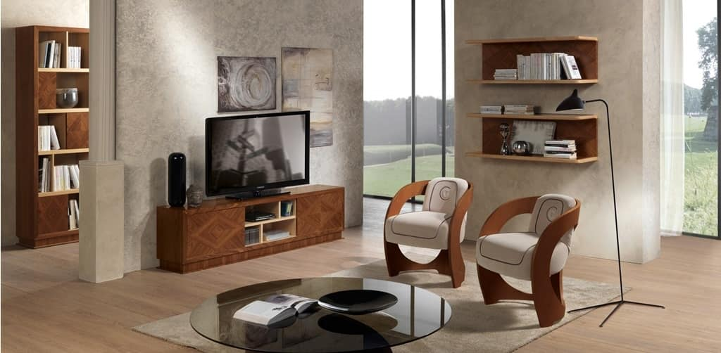 MB55 Desyo TV cabinet, TV cabinet in inlaid wood, for classic living rooms