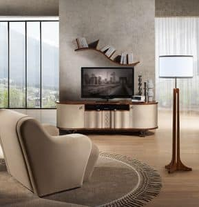 MB57 Mistral TV cabinet, Tv cabinet in wood covered with leather, steel legs