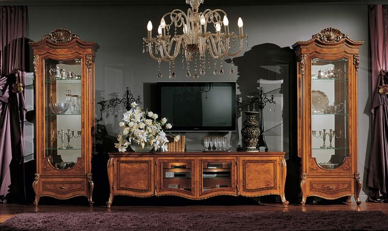 Tv Stand Decorated With Carvings For