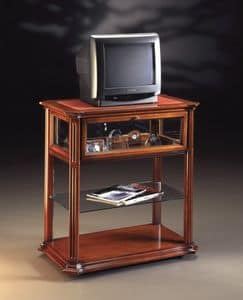 Oxford Art.510 TV trolley, TV stand with castors, in walnut handmade