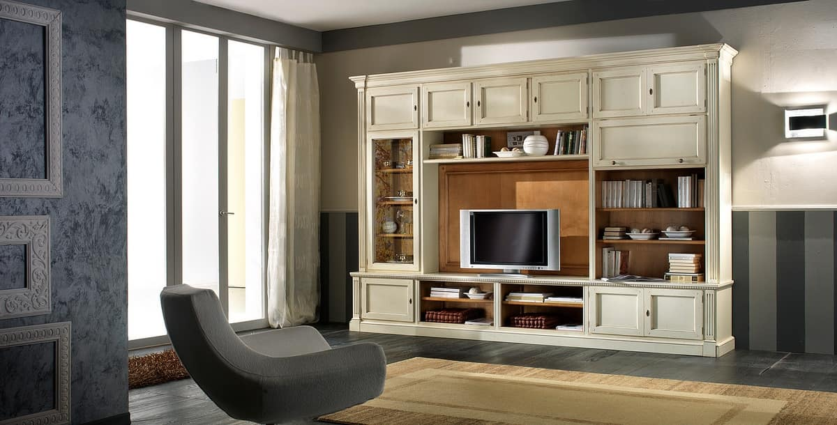 Tv Cabinet Lacquered With Shelves And