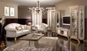 Raffaello tv stand, Luxury tv stand, lacquered pearl white with gold ornamentation