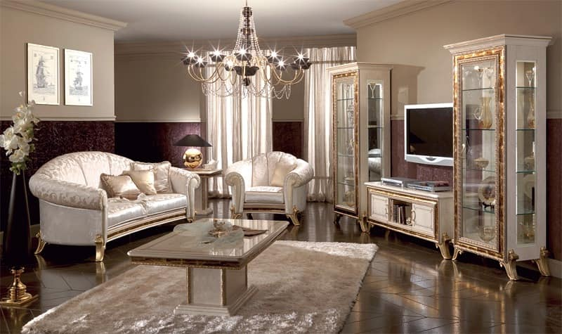 Luxury Tv Stand Lacquered Pearl White With Gold Ornamentation