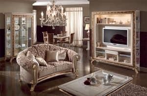Raffaello wall unit, Luxury tv stand lacquered pearl white, gold decorations