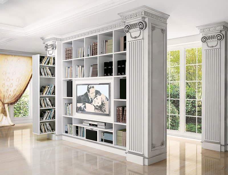 Tv stand for contemporary classic living room for villas for Arredo stand area