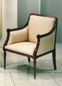 2090 ARMCHAIR, Luxury classic armchair with wooden structure visible
