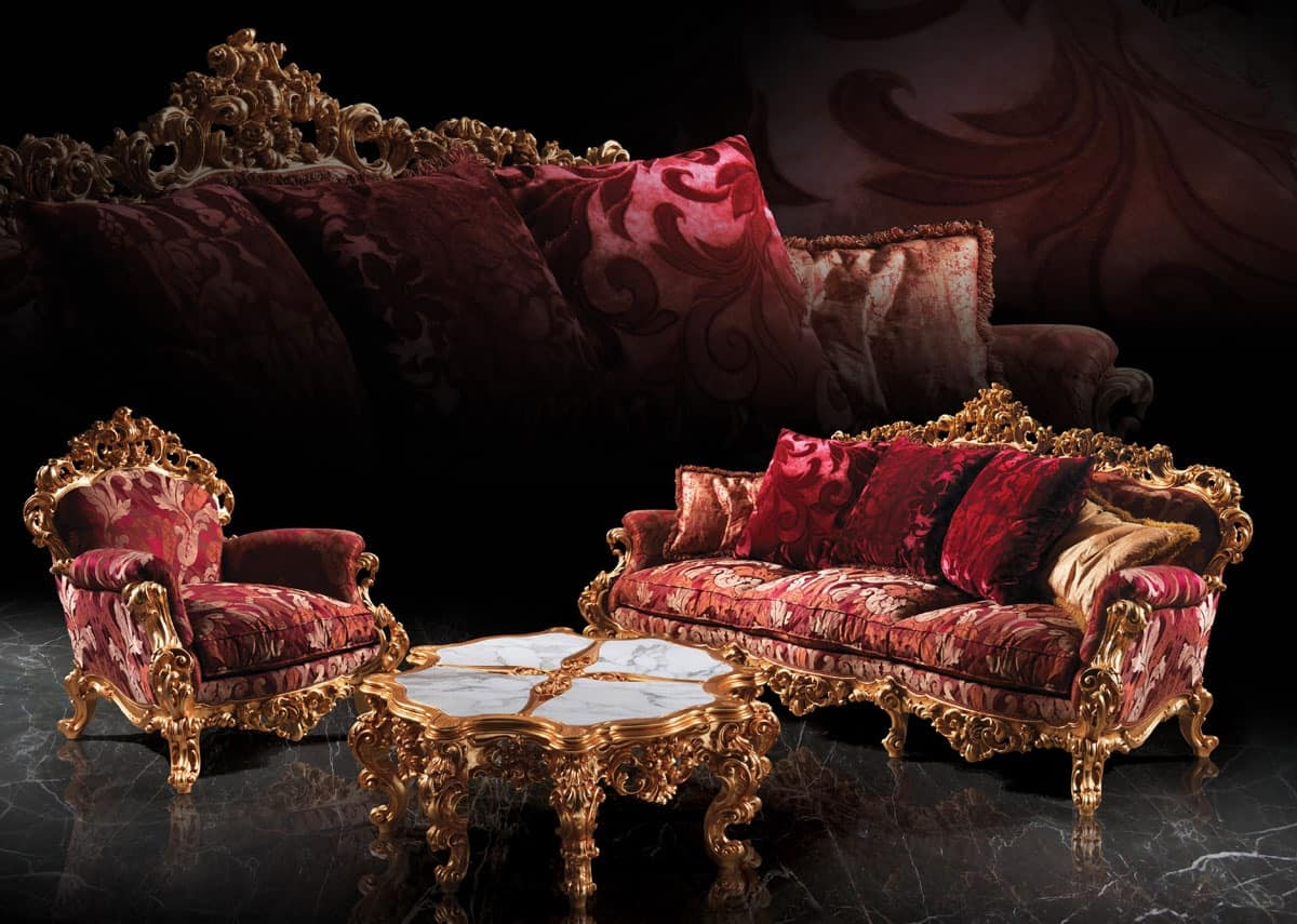 248 Living room, Baroque Armchair, in wood, for Suite hotel