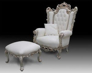 Casanova throne, Classic style armchair covered in leather, baroque style