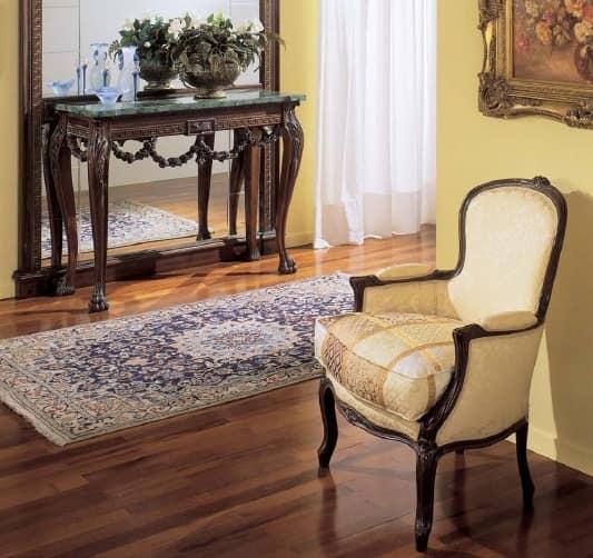 3160 ARMCHAIR LUIGI XV, Luxury armchair,in walnut, for hotels and restaurants